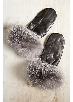 Women's Lambskin Leather Mittens with Blue Frost Fox Fur Trim