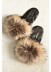 Women's Leather Mittens with Finn Raccoon Fur Trim