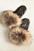 Women's Leather Mittens with Finn Raccoon Fur Trim