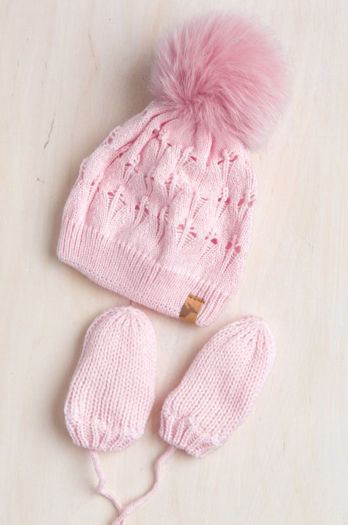 Newborn Knit Beanie Hat with Detachable Fox Fur Pom & Fleece-Lined Mittens Set