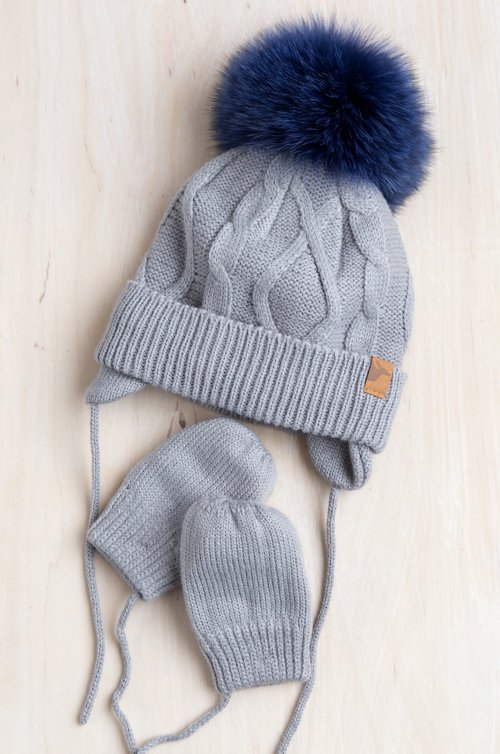 Baby Knit Beanie Hat with Detachable Fox Fur Pom and Fleece-Lined Mitten Set