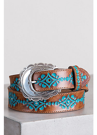 Anasazi Turquoise Brazilian Leather Belt