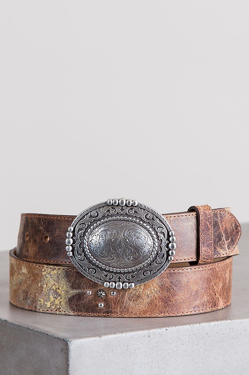 Pueblo Plaque Leather Belt