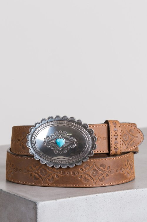 Navajo Heart Leather Belt