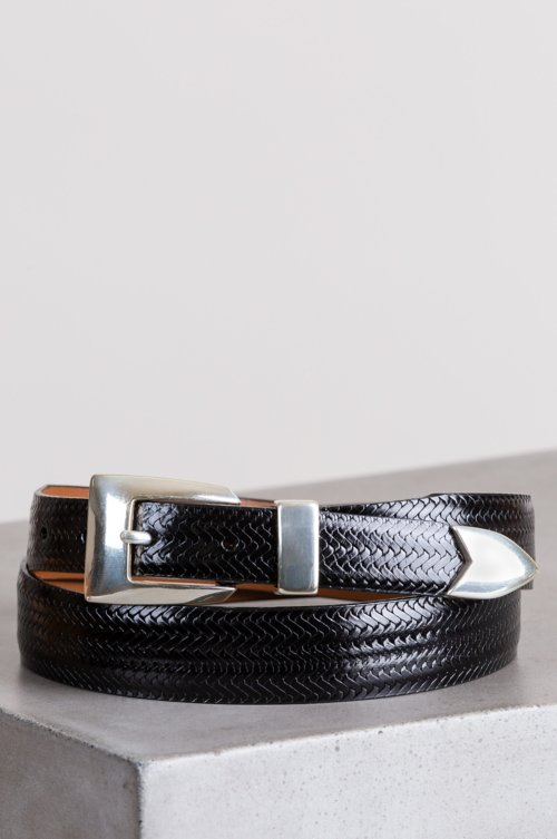 Avalon Basketweave Taper Leather Belt