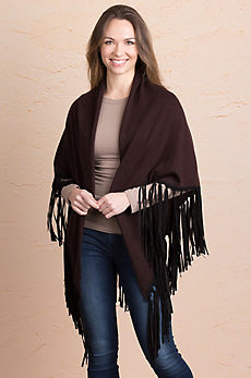 Grace Wool and Cashmere Shawl with Suede Fringe
