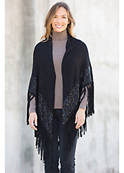 Celeste Wool and Cashmere Shawl with Suede Fringe