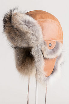 Leather Aviator Hat with Coyote Fur Trim