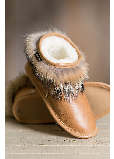 Women's Overland Jean Shearling-Lined Brazilian Leather Slippers with Coyote Fur Trim