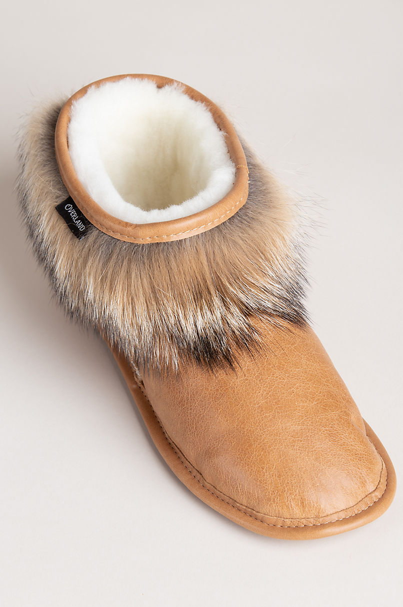 Women's Cynthia Shearling-Lined Brazilian Leather Slippers with Coyote Fur Trim