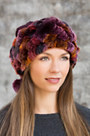2-in-1 Chenille Beanie Hat and Collar with Rabbit Fur Trim