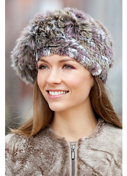 Women's Knitted Rex Rabbit Fur Beret