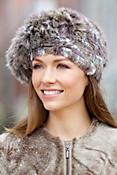 Women's Knitted Rex Rabbit Fur Beret