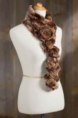 Rex Rabbit Fur Ruffle Scarf with Rosette II