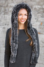 Knitted Fox Fur Hooded Scarf