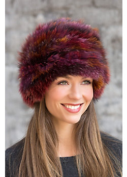 Knitted Fox Fur Beanie Hat
