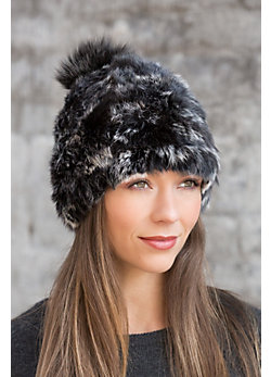 Knitted Rabbit Fur Hat with Detachable Fur Pom