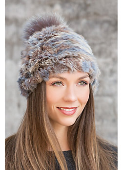Knitted Rabbit Fur Beanie Hat with Detachable Fur Pom