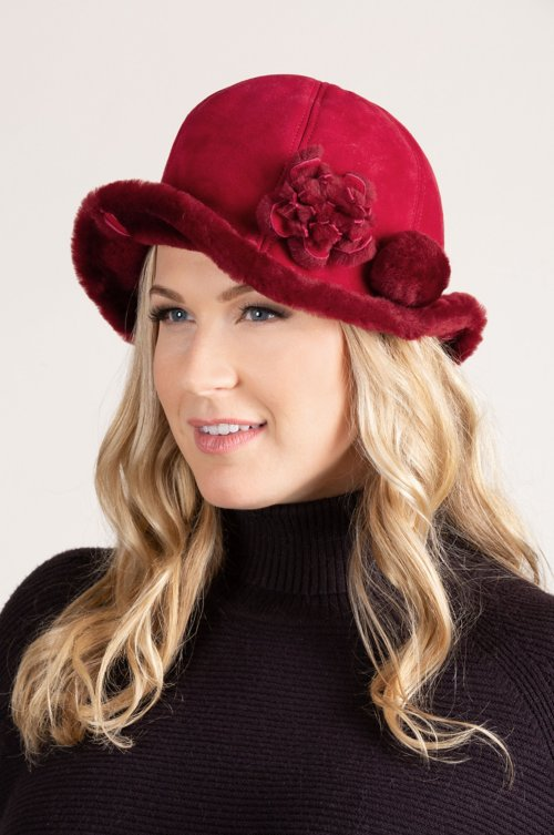 Women's Spanish Merino Sheepskin Cloche Hat with Flower & Pom