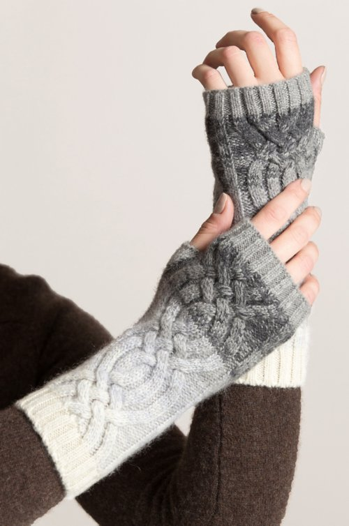 Women's Ombre Knitted Cashmere Fingerless Gloves