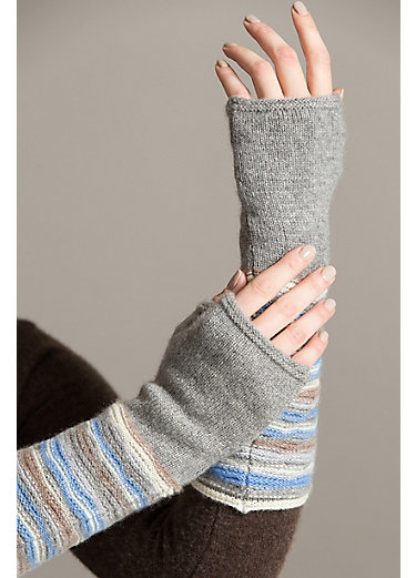 Women's Striped Cashmere Fingerless Gloves