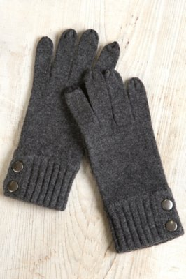 Women's Ribbed Cuff Cashmere Gloves