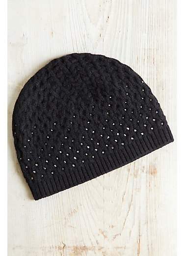 Night Sparkles Knitted Cashmere Beanie Hat