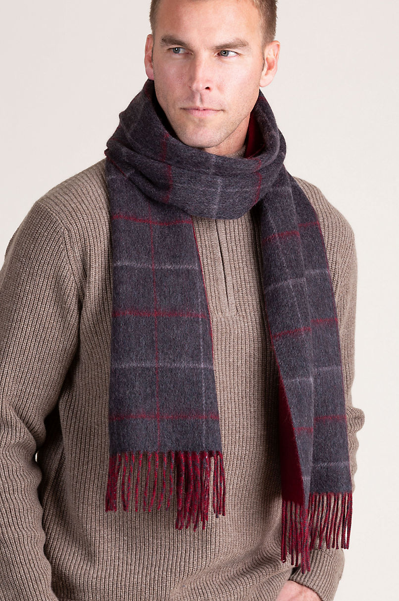 Plaid and Solid Reversible Cashmere Scarf