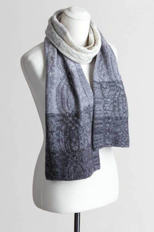Ombre Cable Knit Cashmere Scarf