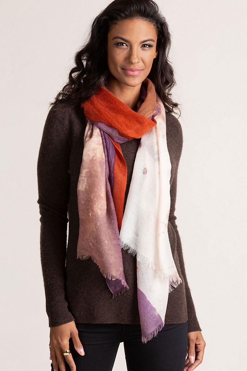 Lena Shawl-Style Cashmere Scarf