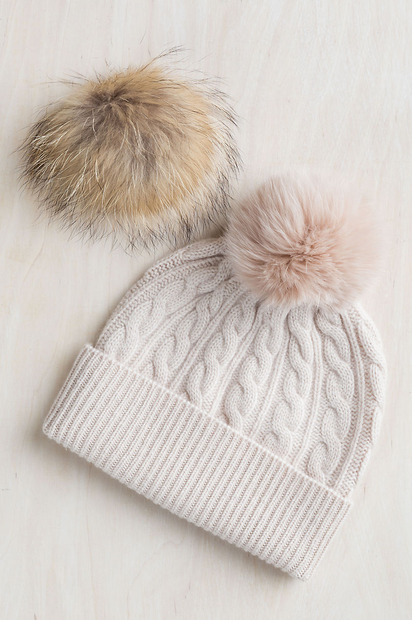 b8eb6442022c37 Cashmere Beanie Hat with Detachable Fox and Raccoon Fur Poms | Overland