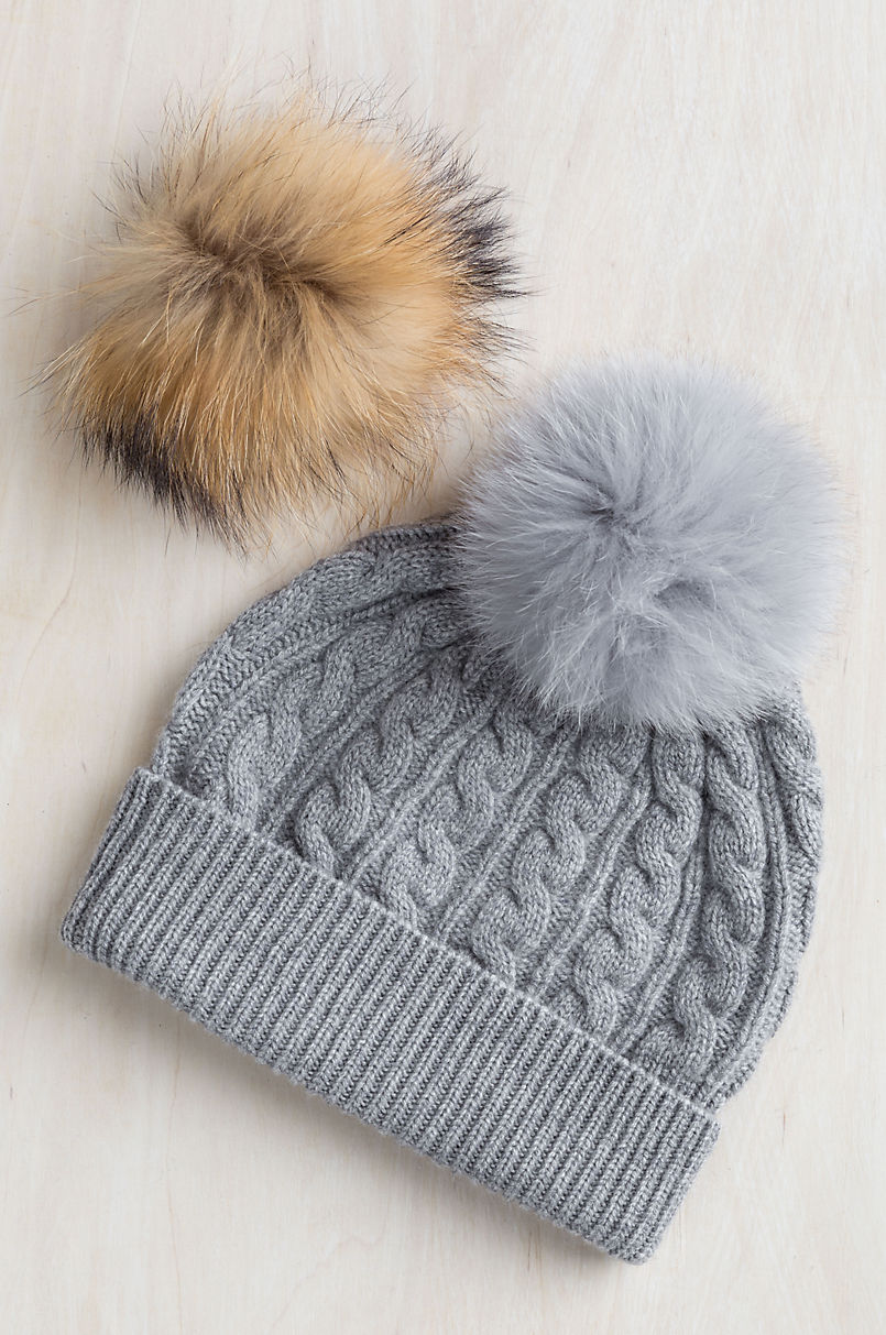 654b2dc44df Cashmere Beanie Hat with Detachable Fox and Raccoon Fur Poms