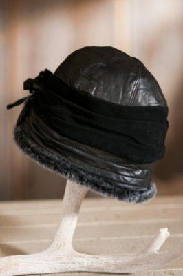 Women's Sheepskin Cloche Hat with Suede Rosettes