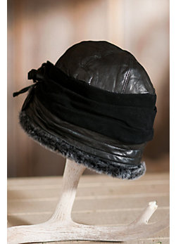 Women's Sheepskin Cloche Hat with Suede Rosettes