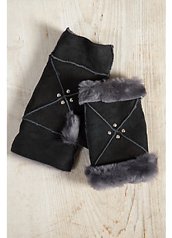 Women's Spanish Merino Sheepskin Fingerless Gloves