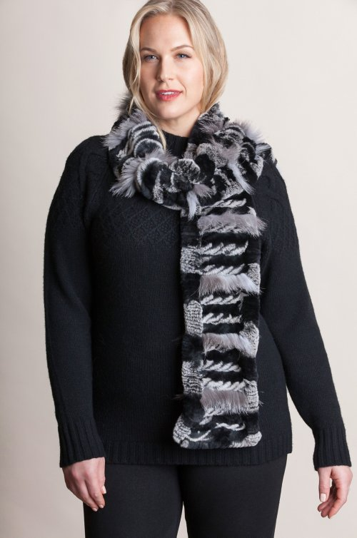 Knitted Rex Rabbit and Silver Fox Fur Stretch Scarf