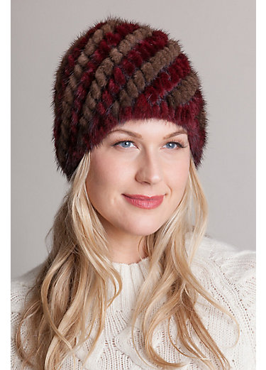 Knitted Danish Mink Fur Beanie Hat