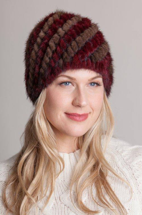 Knitted Danish Mink Fur Beanie Hat