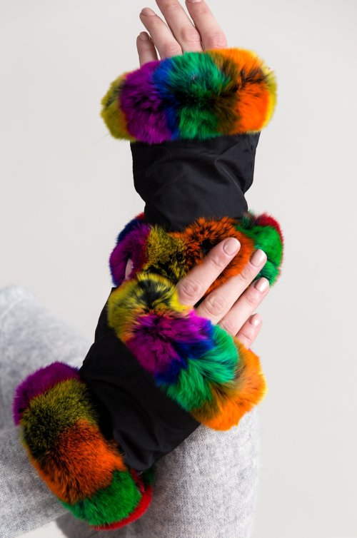Rainbow Fleece Fingerless Gloves with Rex Rabbit Fur Trim