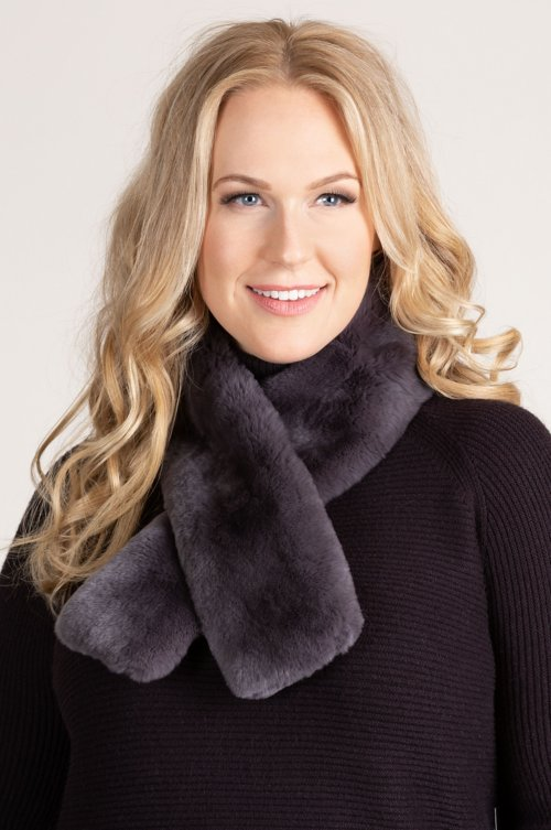 Rex Rabbit Fur Scarf with Magnetic Closure