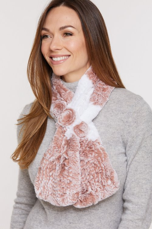 Knitted Rex Rabbit Fur Pull-Through Scarf with Rosette Detail