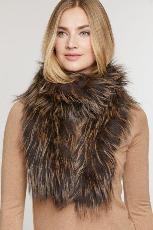 Knitted Silver Fox Fur Scarf