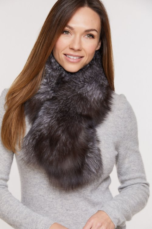 Blue Frost Fox Fur Scarf with Magnetic Closure