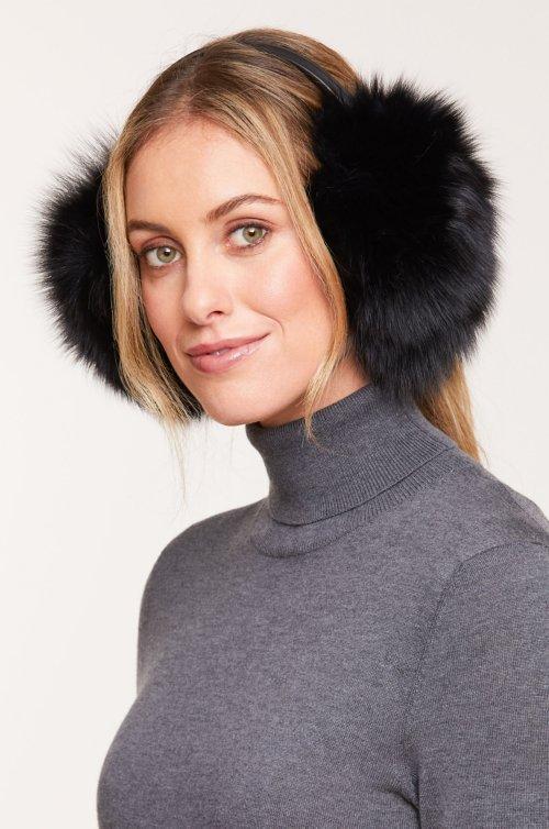 Fox Fur and Lambskin Leather Earmuffs
