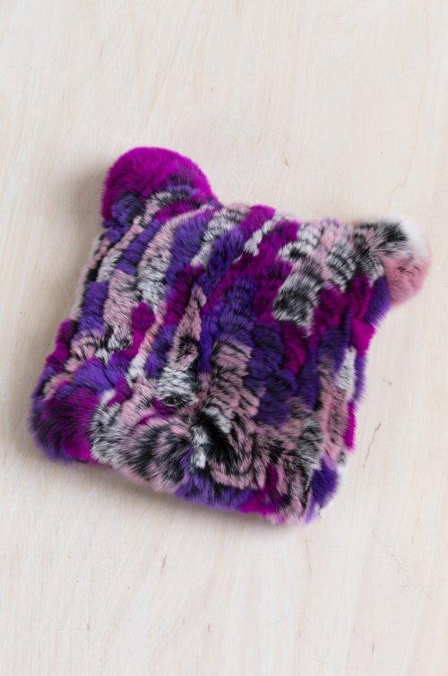 Children's Knitted Rex Rabbit Fur Beanie Hat