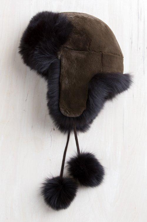 Rex Rabbit Fur Trapper Hat with Fox Fur Trim