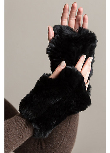 Stretch Knitted Rex Rabbit Fur Fingerless Gloves