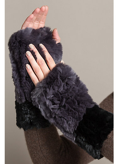 Two-Tone Stretch Knitted Rex Rabbit Fur Fingerless Gloves