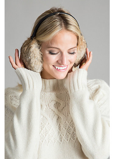 Rabbit Fur and Leather Earmuffs