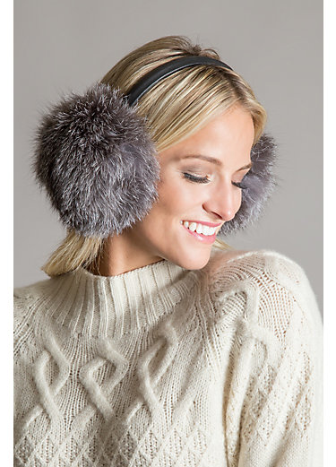 Finnish Fox Fur and Lambskin Leather Earmuffs